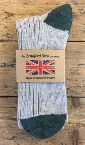 Men's Wool Socks - Natural and Green - Loose Top - Medium Only.
